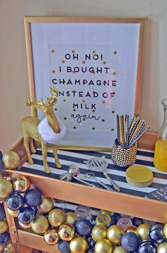 Champagne Sign from Target Home Goods for a Glam Holiday Bar Cart