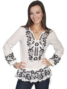 Scully Honey Creek Womens Natural 100% Cotton L/S Floral Embroidered Tunic