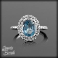 Blue Topaz and Diamond Ring with Double Halo - LS1092