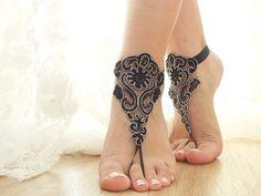bridal anklet, black silver frame  Beach wedding barefoot sandals, bangle, wedding anklet, free ship, anklet, bridal, wedding