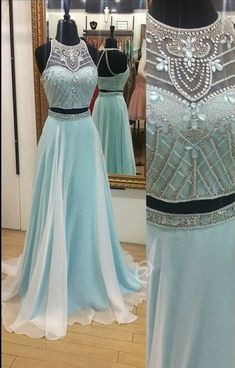 Light Blue Long Chiffon Prom Dress with Beaded Crop Top
