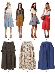 What I love about these skirts? These inspired skirts are very versatile - pair with a tank top, cardigan or crisp button down collared shirt on a hot summer day or cool spring morning. madewell tibi asos, vera moda rebecca taylor topshop D&G zara Modest Outfits, Skirt Outfits, Modest Fashion, Dress Skirt, Midi Skirt Outfit, Fashion Skirts, Looks Style, Style Me, Jw Mode