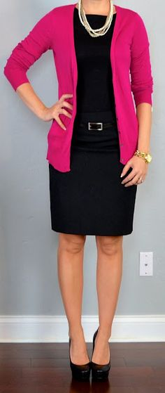 pink cardigan, black blouse, black pencil skirt