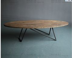 Customizable American country to do the old vintage wrought iron oval coffee table wood bar teasideend