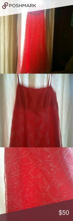 Handmade one-of-a-kind Coral Prom Dress. Sz 8 Brand new! Only worn once.  Handmade one-of-a-kind prom dress. Coral colored.  Lined. Sheer sparkly over layer. Empire Waist.  Approximately Size 8. Length 52in. Bust 32in. Straps are not adjustable. Zipper and hook close in back. Smoke and pet free home. Dresses Prom