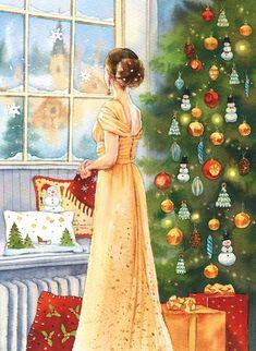 Christmas Tree Art, Christmas Scenes, Merry Little Christmas, Christmas Paintings, Vintage Christmas Cards, Winter Christmas, Christmas Holidays, Christmas Decorations, Illustration Noel