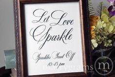 This beautiful sparkler send off sign is made with ultra-thick white shimmer cardstock and is the perfect way to announce your sparkler send off!