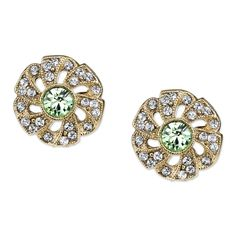Downton Abbey Jewellery Collection Gold Tone Spring Green and Crystal Stud Earrings