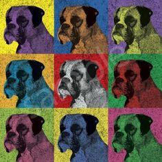 Boxer Dog Vintage-Style Pop-Art T-Shirt Tee - Men's, Women's Ladies, Short, Long Sleeve, Youth Kids