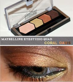 """New Maybelline Eye Studio Color Plush Eyeshadow Quad, """"Coral Oasis,"""" Photographs, Swatches, & Tutorial"""