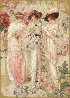 3 Vintage Victorian fashion ladies Roses by CottageRoseGraphics Vintage Labels, Vintage Ephemera, Vintage Postcards, Vintage Prints, Vintage Art, Vintage Graphic, Vintage Beauty, Images Vintage, Vintage Pictures