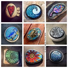 """Spring art class schedule for the Huntington Beach Art Center will be coming out soon! I will be teaching the first ever """"Mosaic on Stone""""… Mosaic Rocks, Stone Mosaic, Mosaic Glass, Glass Art, Stained Glass, Sea Glass, Mosaic Garden Art, Mosaic Art, Mosaic Tiles"""