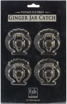 old brass embellishments 4/card-ginger jar catch