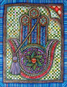 """""""Hamsa 1"""" Created by Gerrie Shapiro One of a Kind Inspired by the rich traditions and imagery of her Jewish faith, Gerrie Shapiro uses ink and colored pencil to create pieces that are intricately detailed and realistically rendered in the trompe l'oeil style"""