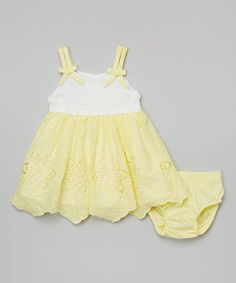 Look at this #zulilyfind! Yellow Floral Eyelet Dress & Diaper Cover - Infant #zulilyfinds