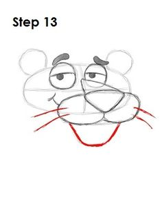 How to Draw Pink Panther Step 13 Easy Flower Drawings, Easy Drawings Sketches, Cartoon Sketches, Disney Sketches, Disney Drawings, Cute Drawings, Rosa Panther, Disney Drawing Tutorial, Panthères Roses