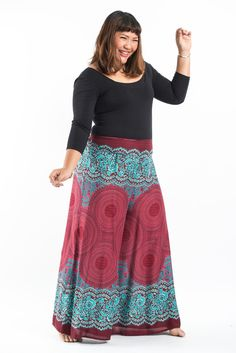 Plus Size Geometric Mandalas Palazzo Style Harem Pants in Red