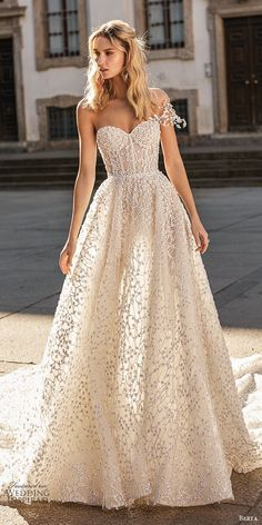 berta spring 2020 bridal one shoulder sweetheart fully embellished beaded a line ball gown wedding dress 15 romantic glitzy princess cathedral train mv - Berta Spring 2020 Wedding Dresses Wedding Inspirasi Fall Wedding Dresses, Princess Wedding Dresses, Perfect Wedding Dress, Boho Wedding Dress, Bridal Dresses, Wedding Gowns, Mermaid Wedding, Summer Wedding, Sparkly Dresses