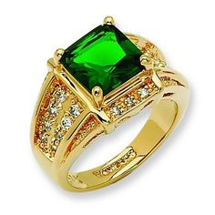 Jackie Kennedy GP Ring - Square Green Simulated Emerald with Box and COA