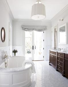 Bath - basket-weave tile floor, dark wood vanity, pale gray, circa lighting pendant fixture