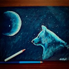 Wolf in a moon stared night. With oil pastel colors! Oil Pastel Colours, Oil Pastel Paintings, Wolf, Night, Art, Art Background, Kunst, Wolves, Performing Arts
