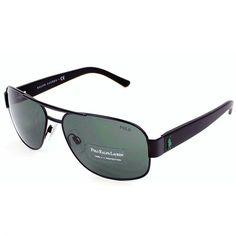 Óculos de Sol Polo Ralph Lauren Aviador Preto Fosco - PH3080903871 7c35fc7de8bb