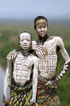 "Africa | ""Karo Boys Showing Off"", Omo Valley, on the banks of the Omo River, Ethiopia 