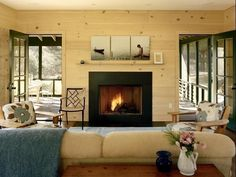 The walls, the gas fireplace and opened to an outside porch