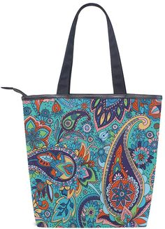 BKEOY Large Hand Shoulder Bag Colorful Paisley Pattern Tote Zipper Shopper Bags: Amazon.co.uk: Shoes & Bags Shopper Bag, Tote Bag, Amazon Specials, Tote Pattern, Sell On Amazon, Paisley Pattern, Canvas Fabric, S Star