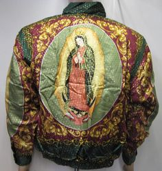 f941ada2cec Items similar to Vintage 90s Baroque Silk Bomber Jacket Style Our Lady of  GUADALUPE Virgin Mary inspired ,Green Gold & Oxblood, Mens size M on Etsy
