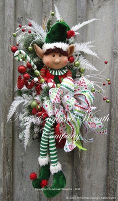 Little Elf Boy Holiday Swag ~A New England Wreath Company Designer Original~ Christmas Mesh Wreaths, Christmas Door Decorations, Christmas Swags, Christmas Holidays, Christmas Ornaments, Burlap Christmas, Winter Wreaths, Elf Decorations, Door Wreaths
