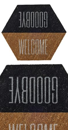 Are they coming or going? It matters not; the Mixed Message Doormat offers clever reversible placement of greetings to welcome guests or bid them goodbye. Available in English or always-romantic French...  Find the Mixed Message Door Mat, as seen in the Outdoor Collection at http://dotandbo.com/category/decor-and-pillows/rugs/outdoor?utm_source=pinterest&utm_medium=organic&db_sku=118759