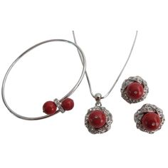 Customize your pearl jewelry with this classy Coral Red Swarovski pearl pendant earrings surrounded with rhinestones that sparkle like real diamond & adjustable elegant Bracelet are infused with an innate sense for a beautiful gift for the special someone in your life or would be cool jewelry for yourself.