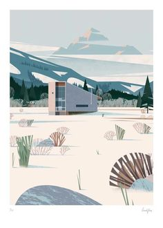 Methow Cabin print, Eggleston Farkas Architect, Winthrop, Washington (USA). This Illustration is a piece from CABINS book by Philipp Jodidio, illustrated by Cruschiform and released by TASCHEN.