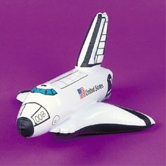 About This Product One Inflatable Space Shuttle per Package Measures 14 Inches Long One Space Party Inflatable Space Shuttle. Inflatable Space shuttle is 14