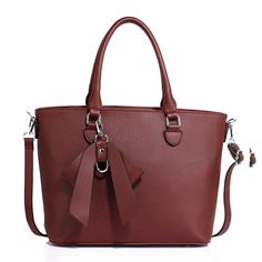 Burgundy Tote Bag With Bow Detail Charm