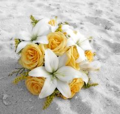 Image detail for -Bouquets: round bouquet with white lilies and yellow roses