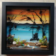 FREE SHIPPING This piece will be made to order on a hand painted background. Pebble art couple in a swing enjoying the beach and ocean at sunset (any number of people and/or pets may be added at no extra cost. Set in a 9x9x2 glass enclosed wood-grained shadowbox (several colors to