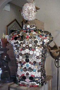 bannerking.ca@gmail.com - Mother Of Pearl Button Sculpture  Button Holed. $375.00