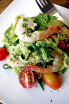 Zucchini Pasta with Shrimp and a Creamy Avocado Basil Sauce.