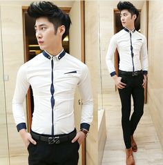 Hot Sale 2014 Fashion Splicing Collar Shirts Charming Asian Man Clothing Party Club Dress Shirts  $27.00