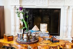 Boho Apartment Envy! Inside Erin Wasson's Chill Venice Pad #refinery29  http://www.refinery29.com/erin-wasson-home-tour#slide3  In the living room, she places wood on top of wood.