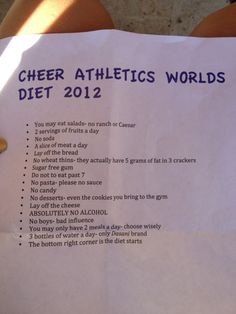 Cheer athletics worlds diet I have I do this! This is a good diet even if you aren't a cheerleader for Worlds Cheerleading Diet, Cheer Athletics Abs, Cheer Athletics Cheetahs, Cheer Tryouts, Cheer Coaches, Cheer Abs, Cheer Jumps, Athletics Logo, Cheerleading Quotes