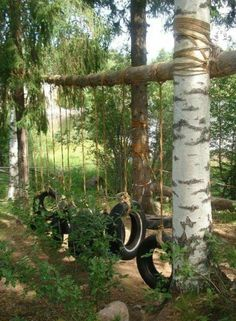 25 Ways To Seriously Upgrade Your Family& Backyard Love the tire swings/obstacle course, and tin cans. The boys could help hammer holes into the cans Outdoor Play Spaces, Kids Outdoor Play, Kids Play Area, Backyard For Kids, Outdoor Fun, Outdoor Games, Backyard Ideas, Natural Outdoor Playground, Sloped Backyard
