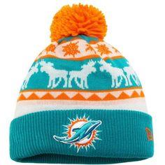 4540f92138b952 Miami Dolphins New Era Blue/Orange Mooser Cuffed Knit Beanie w/Pom Miami  Dolphins