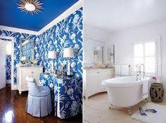 Thibaut wallpaper blue painted ceiling sunburst flush mount light