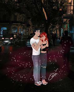ariel and eric in real life. Disney Pixar, Arte Disney, Disney Marvel, Disney Fan Art, Disney And Dreamworks, Punk Disney Princesses, Disney Princess Drawings, Disney Villains, Cool Cartoons