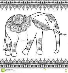 Elephant With Border Elements In Ethnic Mehndi Indian Style. Vector Black And White Illustration Isolated Stock Vector - Image: 71369524