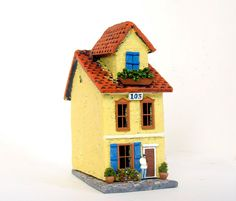 Saffron Yellow Burano House - Summer in Venice Italy - Handmade Miniature Clay Building, Canal Walkway and Bench - HO Scale. $89.00, via Etsy.