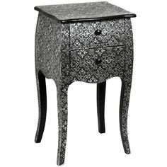 Pair of Black & Silver Embossed Marrakesh Style Furniture Bedside Table Cabinet in Home, Furniture & DIY, Furniture, Bedside Tables & Cabinets French Bedside Tables, Side Tables Bedroom, Hill Interiors, Bedroom Cabinets, Bedside Cabinet, Wood Square, Unique Furniture, House Furniture, Furniture Stores